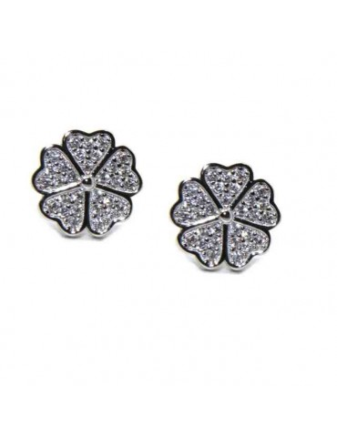 NALBORI 925 silver four-leaf clover and zircon earrings