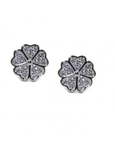 NALBORI orecchini argento 925 quadrifoglio e zirconi