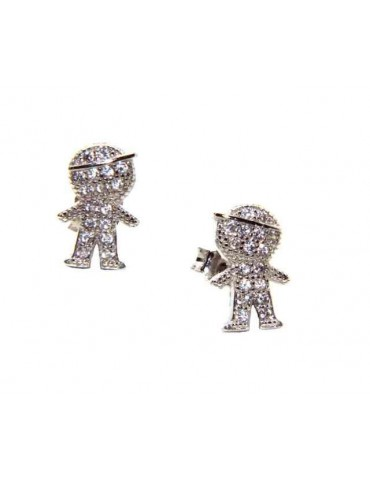 NALBORI 925 silver child earrings with cubic zirconia cap