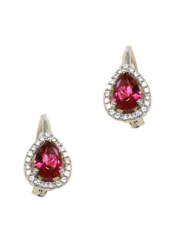 NALBORI Nun earrings in 925 silver ruby red drop