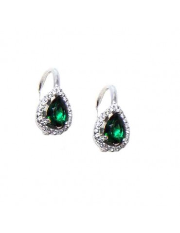 NALBORI Nun earrings in 925 silver emerald green drop