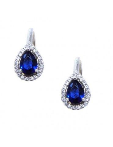 NALBORI Orecchini a monachella in argento 925 goccia blu sapphire