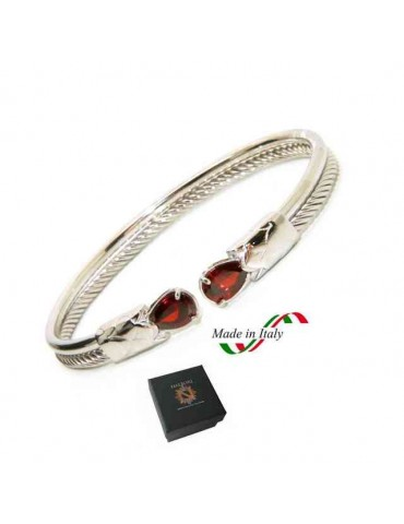 NALBORI Cable rigid cable bracelet open with red rubin zircon