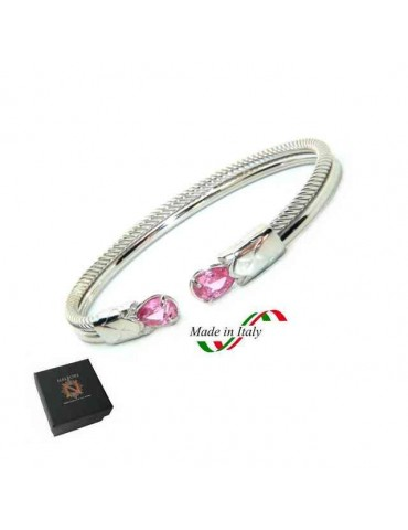 NALBORI Cable rigid cable bracelet open with rose zircon