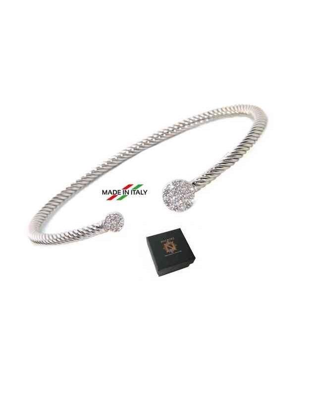 NALBORI Cable open rigid cable bracelet with zircon disc