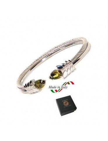 NALBORI Cable rigid cable bracelet open with green peridot zircon