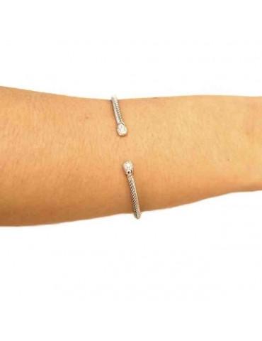 NALBORI Cable open rigid cable bracelet with cubic zirconia balls