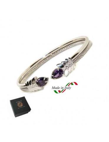 NALBORI Cable bracciale cavetto rigido aperto con zircone viola ametista