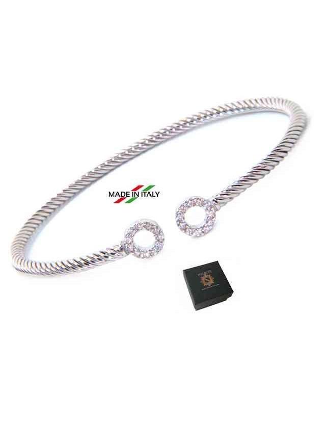 NALBORI Cable open rigid cable bracelet with cubic zirconia rings