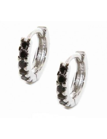 silver 925 : earrings woman man small hoop 12.5 mm zirconia blacks