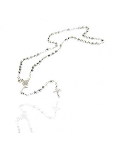 NALBORI Rosary necklace in 925 sterling silver with balls 4 mm 45 cm