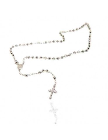 NALBORI Rosary necklace in 925 silver with rhodium-plated balls 4 mm 45 cm