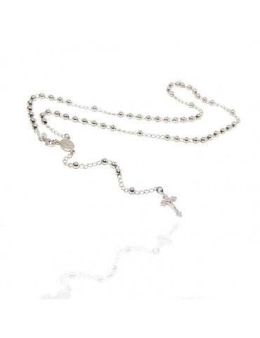 NALBORI Rosary necklace in 925 silver with rhodium-plated balls 4 mm 50 cm