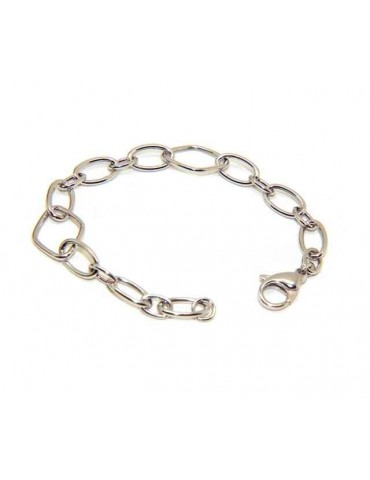 Woman bracelet in 925 silver oval and rhombus wrist 16.5 cm