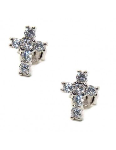 925 silver cross earrings with cubic zirconia stones white 10x8