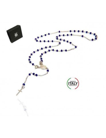 NALBORI 925 Silver Rosary Necklace With blue crystal crucified miraculous madonna 56 cm