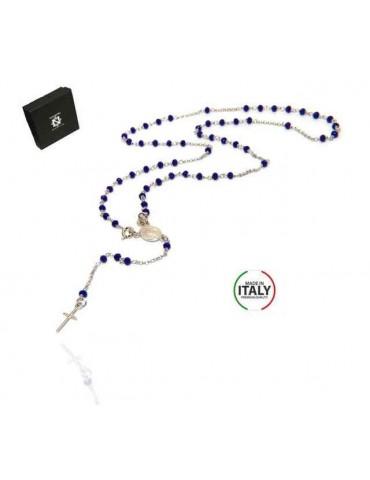 NALBORI Collana Rosario Argento 925 Con cristallo blu crocefisso madonna miracolosa 56 cm