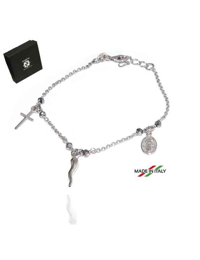 NALBORI Rosary bracelet in 925 sterling silver Madonna cross with cross - grey