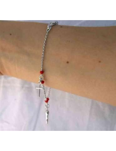 NALBORI Rosary bracelet in 925 sterling silver Madonna cross red