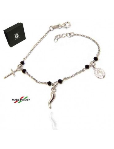 NALBORI Rosary bracelet in 925 sterling silver Madonna horn with cross black