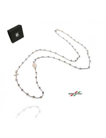 Rosary necklace in 925 rhodium silver, 3 mm long balls, miraculous madonna cross