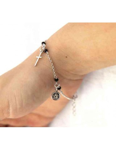 Rosary bracelet 925 silver black crystal angel cross madonna pendant
