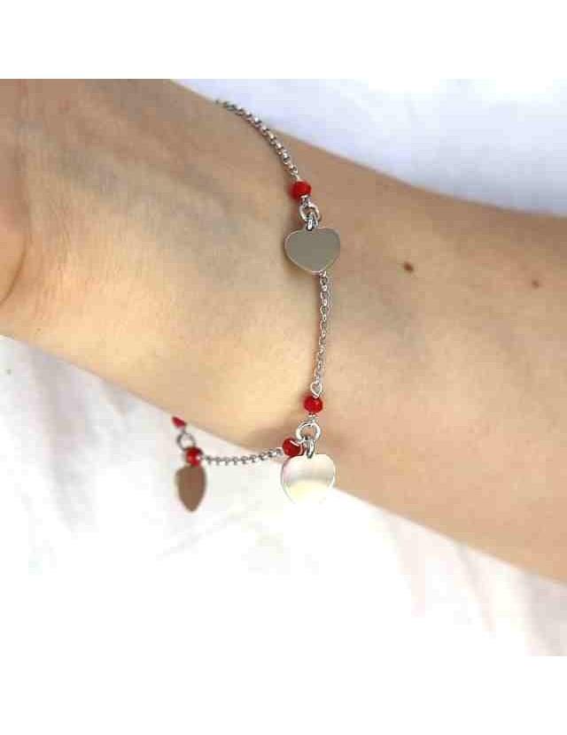 925 silver women's bracelet with red crystal, heart pendants