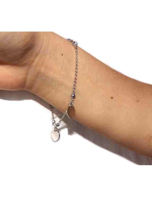 925 silver women's bracelet with heart pendants, hematite crystal