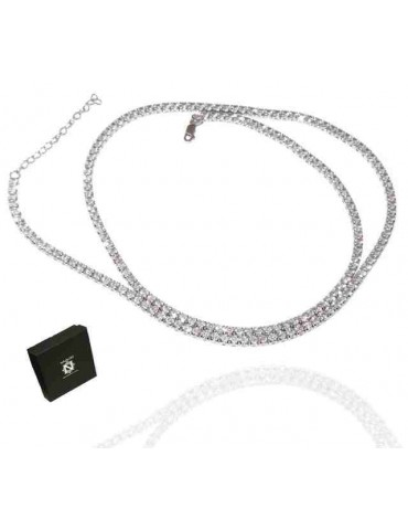 RomaBijoux | 925 silver tennis necklace 60 + 5 cm long - 3 mm zk stones