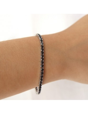 anklet or tennis bracelet 925 silver black zircon 3 mm NALBORI
