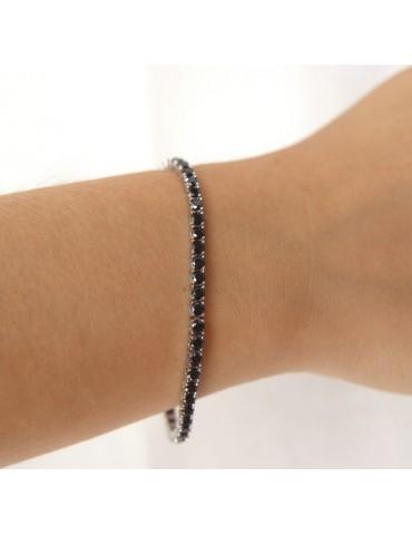 cavigliera o bracciale tennis argento 925 zircone nero 3 mm NALBORI