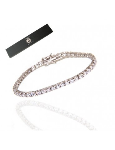 nalbori 925: Tennis Bracelet With White Zircon 3mm claw + measures