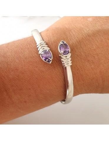 RomaBijoux | SILVER 925: Woman slave bracelet open contrarie purple zircon drop 4 griffe