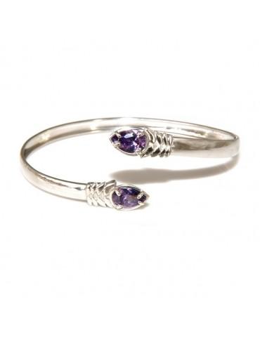RomaBijox | SILVER 925: Woman slave bracelet open contrarie purple zircon drop 4 griffe