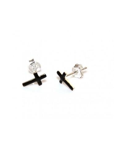 925 silver and black enamel cross earrings romabijoux