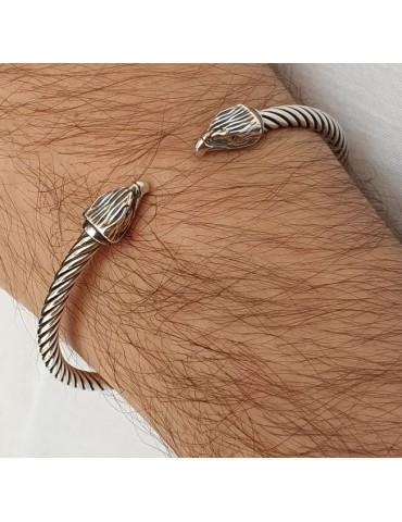 Cable line by NALBORI, open and semi-rigid bracelet made entirely by hand with Italian 925 silver.