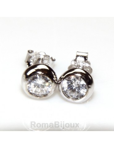 Silver 925 : earrings woman man onion 4 mm cubic zirconia