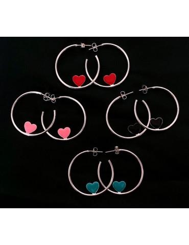 925 silver hoop earrings with enameled heart 3.5 cm nalbori