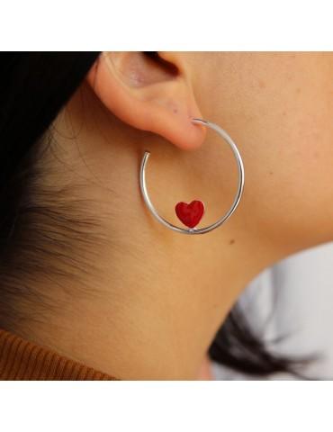 orecchini argento 925 a cerchio con cuore smaltato 3,5 cm di NALBORI rosso