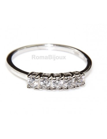 silver 925 Rhodium: woman ring riviera with 5 cubic zirconia 2.5 mm