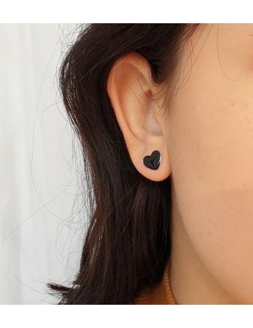925 silver earrings with enameled heart 10mm