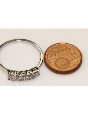 Argento 925 Rodiato : anello donna riviera con 5 zirconi bianchi da 2.5 mm