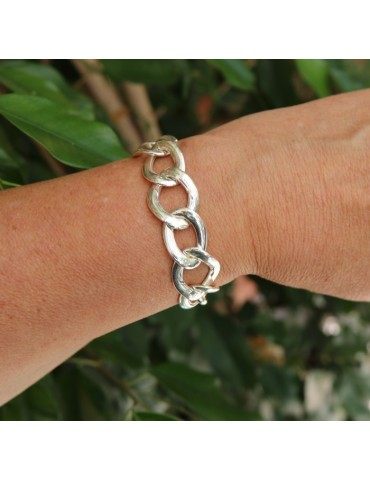 925 silver woman bracelet with 15.5 - 17 cm wide curb chain