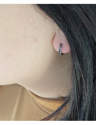 NALBORI orecchini cerchi piccoli 12,5 mm argento 925 e zirconi neri