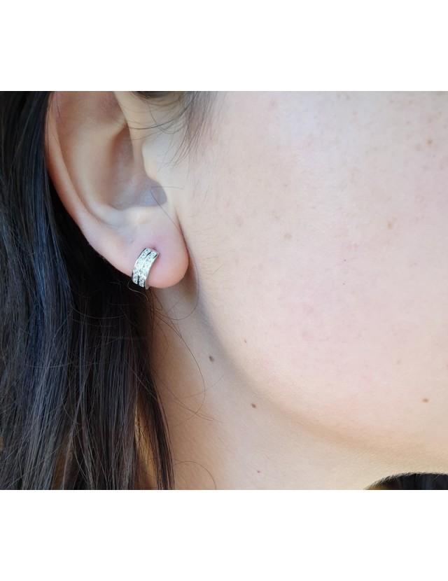 Argento 925 : micro orecchini uomo donna cerchio anelle boccole con 2 file di zirconi 11mm
