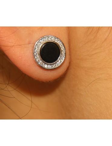 NALBORI orecchini argento 925 a bottone onice e zirconi 12 mm