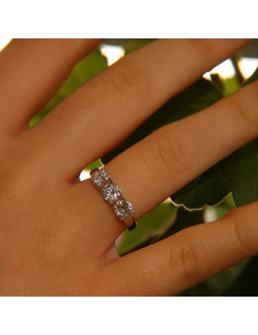 NALBORI anello trilogy argento 925 con zirconi bianchi da 0,5