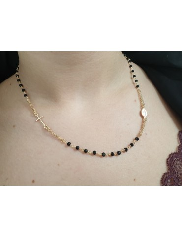 necklace rosary in 925 silver plated yellow gold with black crystal choker