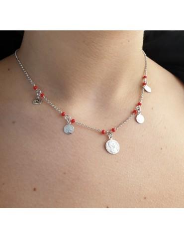 NALBORI Collana donna argento 925 monetine cristallo rosso monete