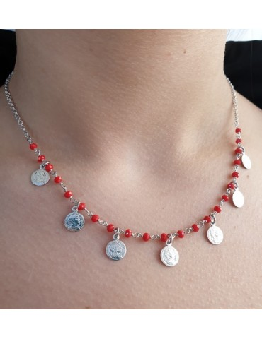 NALBORI Necklace 925 silver coins red crystal Marseille